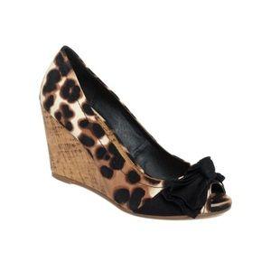 Rampage 'Kardinal' Leopard Peep-Toe Cork Wedge 7.5